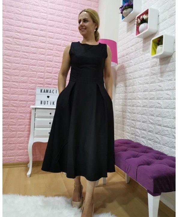 Midi Boy Siyah Elbise Siyah Elbise Elbise Klasik Elbiseler