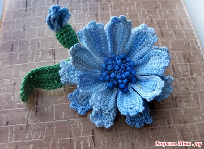 .  Cornflower in the Tunisian engineering - all in openwork ... (crochet) - Country Mom Another flower in Tunisian art.  Strings Violet, hook №1 Clover.