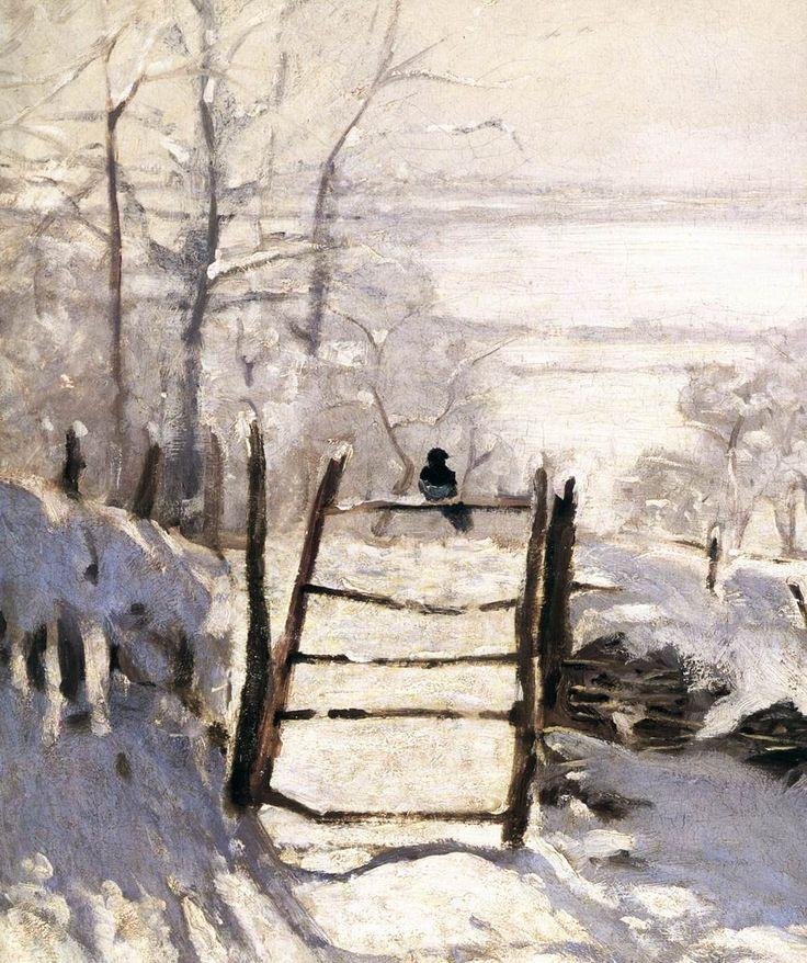 """"""" Claude Monet (1840-1926  The Magpie (detail), 1869. Oil on canvas. Musée d'Orsay, Paris. """""""