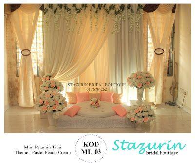 Mini Pelamin Tirai Pelamin Tunang,Pakej Perkahwinan,Busana Pengantin,Buaian Berendoi Warna Pastel: Dekorasi Pelamin Mini {ML}