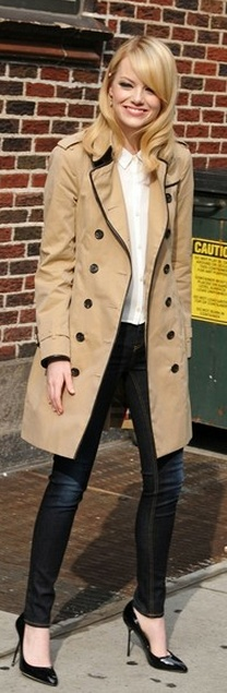Nice Trench Coat: Jacket, Fashion, Skinny Jeans, Style, Emma Stone, Outfit, Stones, Trench Coats