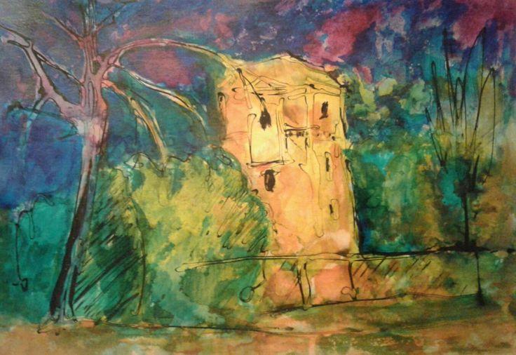 Wieża cisnień  na Julianowie (Malarstwo) przez ANNA  BARDZKA ink