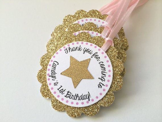 12 Gold Glitter Personalized Tags with STAR. by PaperTrailbyLauraB
