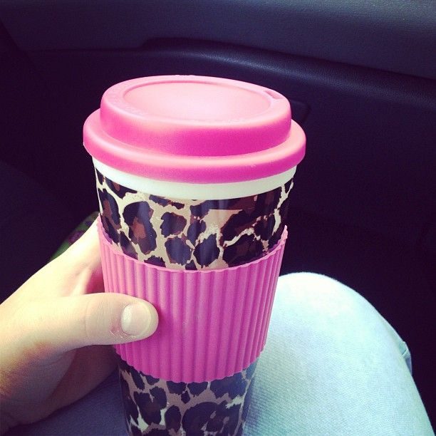 Leopard print & hot pink mug. Coffee to go just got real! ;)