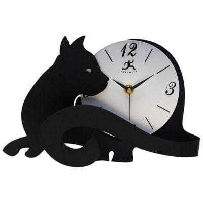 Infinity Instruments Cat Tail Tabletop Clock In Black Cat Clock