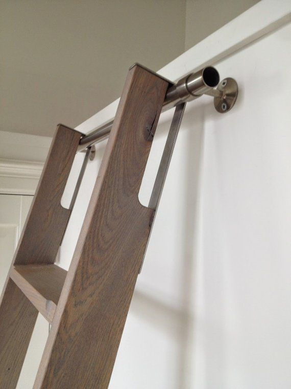 Unfinished Custom Crafted Maple Rolling Loft Ladder with wheels and mounting hardware