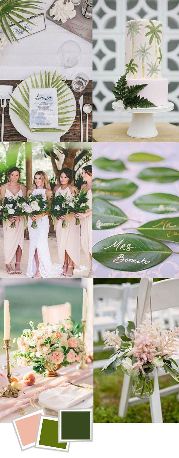 A unique blush and moss green  wedding inspiration