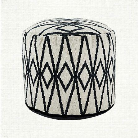 White and Blue Round Pouf | Arhaus Furniture $199