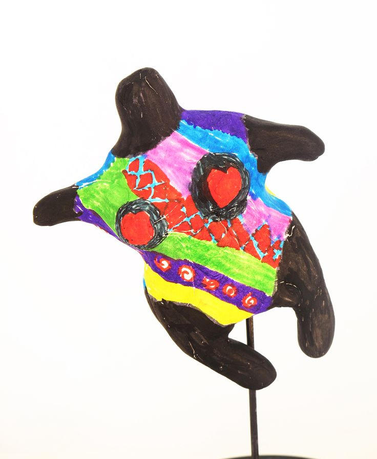 Small paper clay sculptures (10 cm high) based on the work of Niki de Saint Phalle. Patterned with felt pens. Year 3