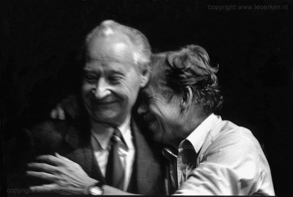 Czechoslovakia, The Velvet Revolution, Wenceslas Square, November 1989: Vaclav Havel turns to hug Alexander Dubcek as they receive the news that the Czechoslovakia Communist Party are resigning from power after more than 40 years.