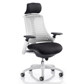 Flex White High Back Office Chair with Headrest