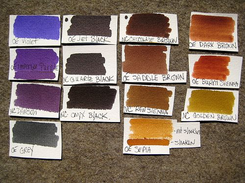 Pinned for your artistic delight....  All 60 Diamine Fountain Pen Inks Swabbed for your Inky Pleasure  [on white Fontaine cold-press watercolor paper]: Fall Colors, Watercolor Palettes, Watercolor Paper, Cold Press Watercolor