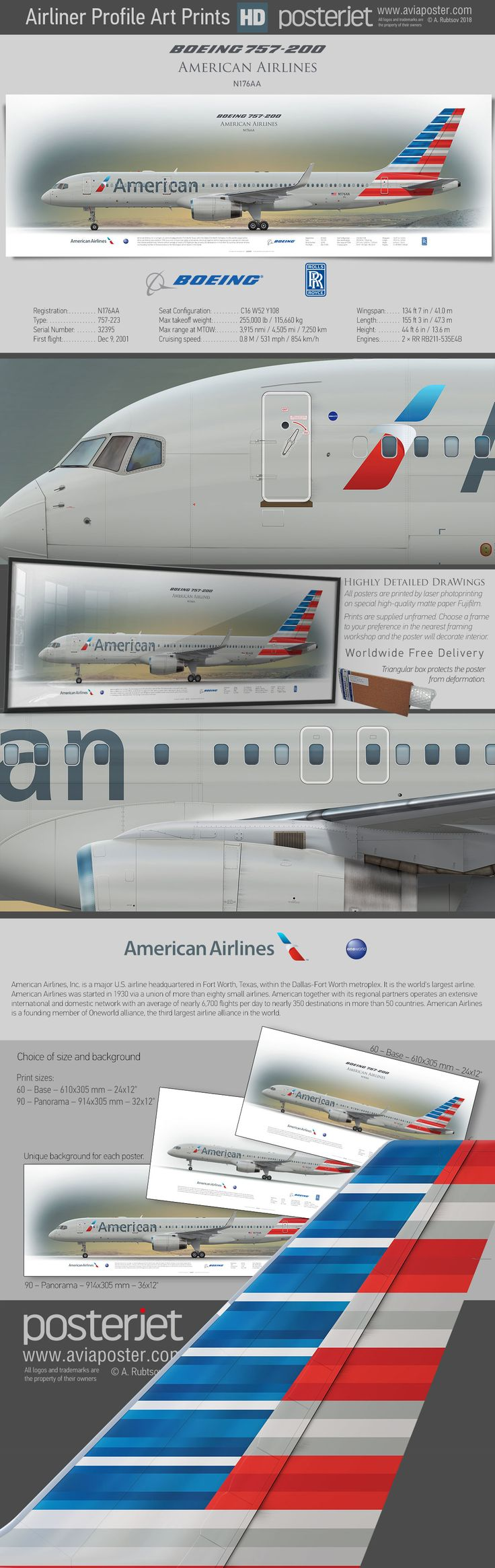 Best 25 aa american airlines ideas on pinterest airlines boeing 757 200 american airlines n176aa aviaposter aviation sciox Image collections