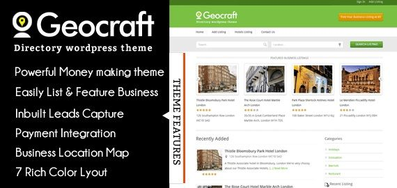 GeoCraft – A complete business directory solution for WordPress to allow business owners to submit their listings as FREE or PREMIUM. You can create a Directory Listing Website with GeoCraft and earn good recurring passive income