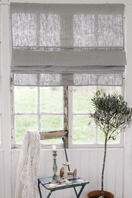 Grey Linen roman shade
