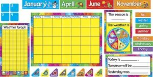 Decorate your classroom walls with a full-sized interactive bulletin board set. The Year Round Calendar Bulletin Board Set features a large calendar, a set of calendar numbers, and 12 month headers that make a great display all year long. Students will love charting the weather and changing the day of the week cards. Picture above may not represent a full set.