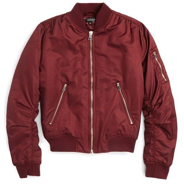 Topshop MA1 Bomber Jacket found on Polyvore featuring outerwear, jackets, tops, coats, burgundy, petite, bomber jacket, bomber style jacket, burgundy bomber jacket and red jacket