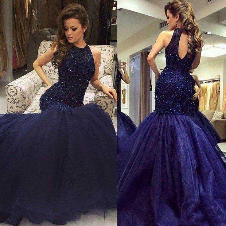 Navy Halter Mermaid Evening Prom Dresses, Long Open Back Evening Prom – SposaDesses