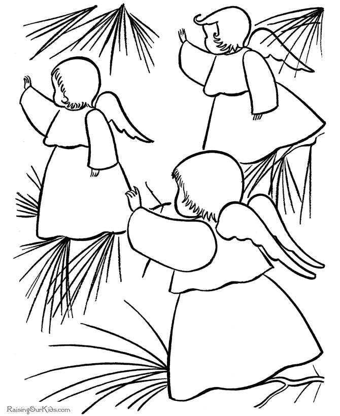 Two Christmas Angel Picking The Star Coloring Pages Free Online And