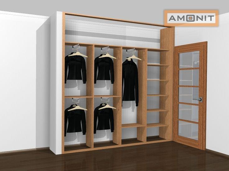 Ukázka vnitřního uspořádání vestavěné skříně - 22. varianta