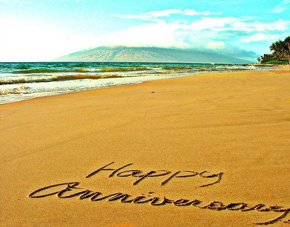 Writing in the sand happy anniversary maui hawaii