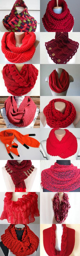 My scarf is included in this treasury!<3 Red Only by Елена Потылицина on Etsy--Pinned with TreasuryPin.com
