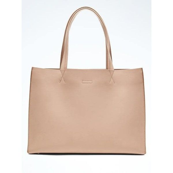 Banana Republic Portfolio Structured Leather Tote ($138) ❤ liked on Polyvore featuring bags, handbags, tote bags, nude, leather purses, laptop tote, pink leather handbags, pink leather tote bag and leather laptop tote
