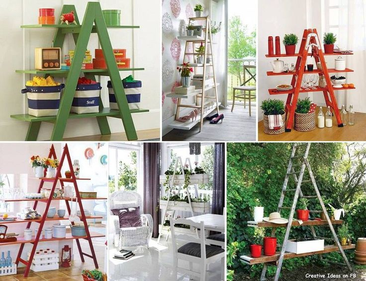 Turned Old Ladders into Shelving!~