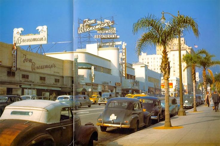"From 1947, here we have a glorious color photo of Vine Street, Hollywood, looking north toward Hollywood Boulevard. Most prominently, we can see the Tom Breneman's Hollywood Restaurant, which became famous when Breneman started hosting his ""Breakfast in Hollywood"" radio show which aired from 1941 to 1948 on the Blue Network, which would morph into the ABC after the war."