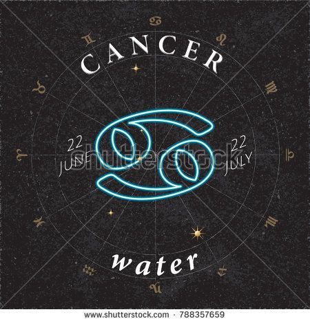 Zodiac Sign Cancer Inverted Logo and Water Lettering with Cancer Constellation Stars and Dates in Zodiac Circle - Gold and White Elements on Black Rough Paper Background - Vector Mixed Graphic Design