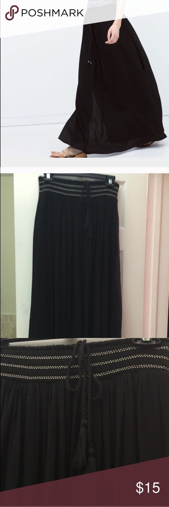 Zara black linen skirt Zara black ling linen skirt, size medium, new without tags  ONE DAY TO SALE. CLEANING OUT MY CLOSET I WILL DONATE EVERYTHING AFTER 1 DAY. Skirts A-Line or Full