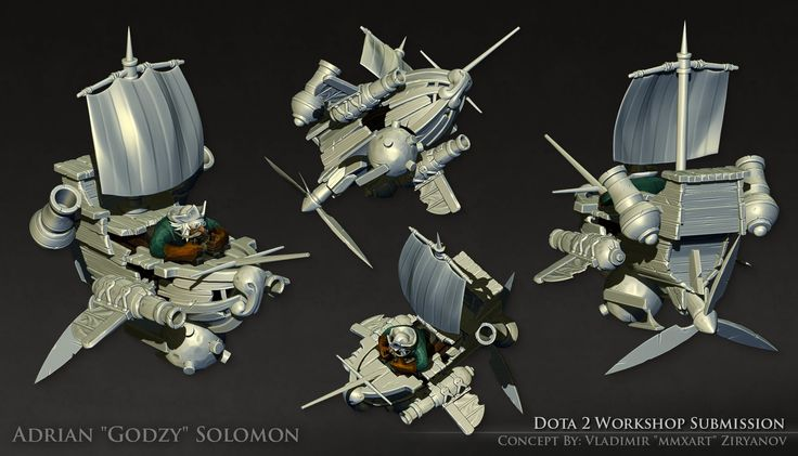 Dota 2 - Gyrocopter Set [High Poly], Adrian Solomon on ArtStation at https://www.artstation.com/artwork/dota-2-gyrocopter-set-high-poly