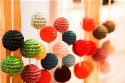 so cool, hanging fabric beads.