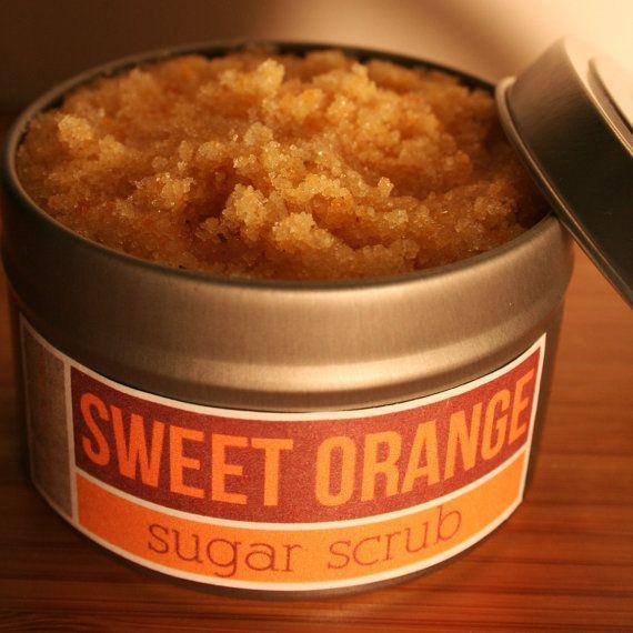 Sweet Orange sugar scrub: let the body caring begin! Gorgeous simple label.