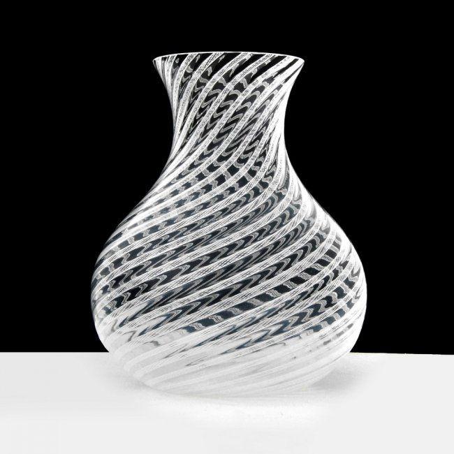 """Latticino"" Vase Attributed to Dino Martens."