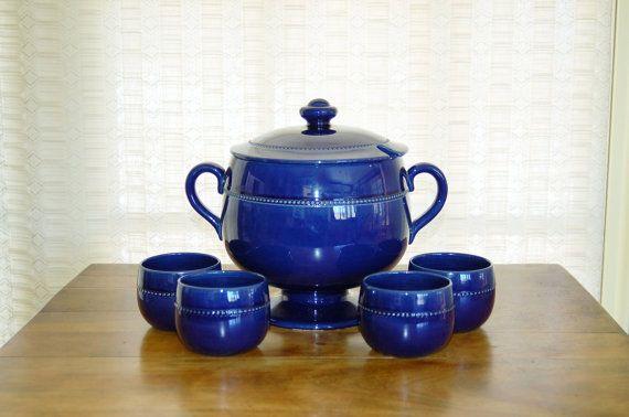 Höganäs Keramik Tureen and Cups, Mid Century Cobalt Blue Old Höganäs Series Beaded Soup Tureen with Lid, Swedish Pottery, Wedding Gift