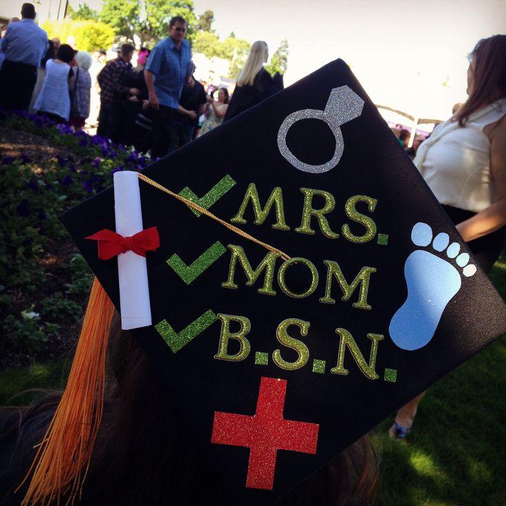 BSN, RN, graduation cap, grad cap, decoration, mrs. Mom, married, mother, nursing