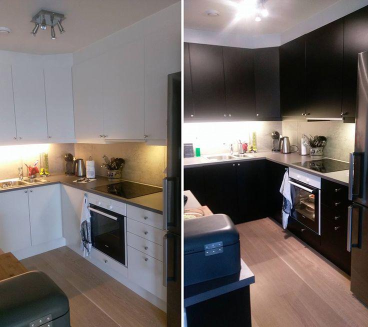 Få et nytt kjøkken med selvklebende folie i sort matt. Før og etter hos kunde. Lindas Dekor.  #kontaktplast #selvklebende #oppussing #kjøkken #interiør #inspirasjon