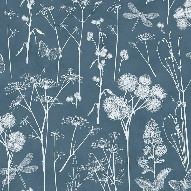 Botanical Blackboard Teal Foliage Wallpaper