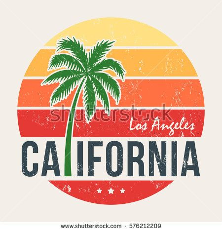 California tee print with styled palm tree. T-shirt design, graphics, stamp, label, typography.