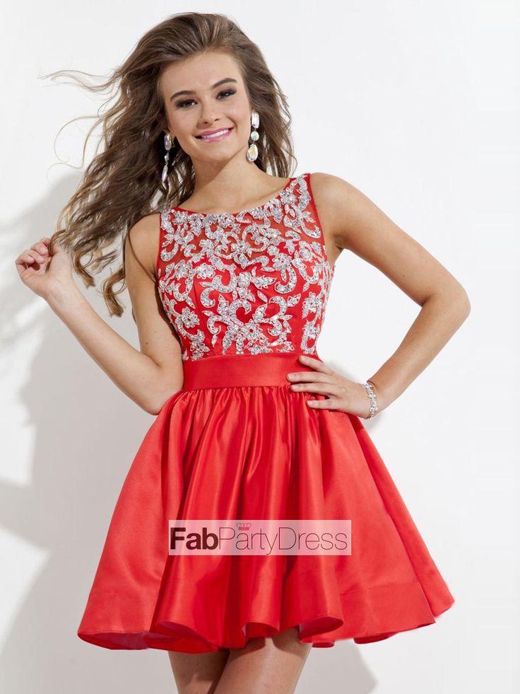 A-line Bateau   Applique  Sleeveless Short / Mini  Elastic Woven Satin Cocktail Dresses / Homecoming Dresses