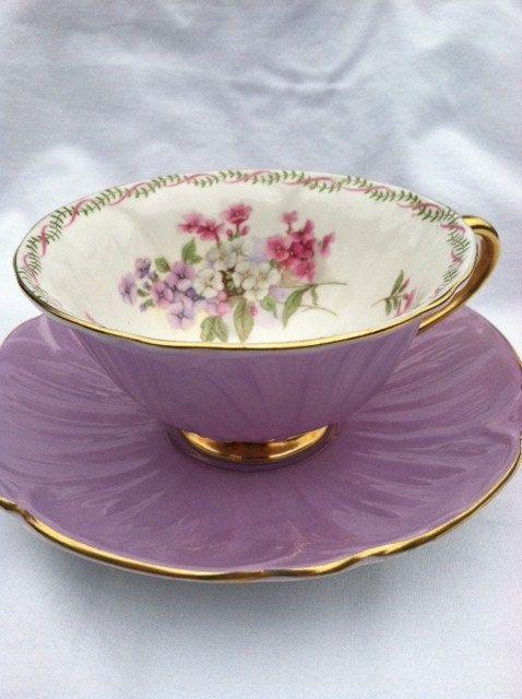 Shelley Purple Tulip Oleander Tea Cup and by MariasFarmhouse. HC