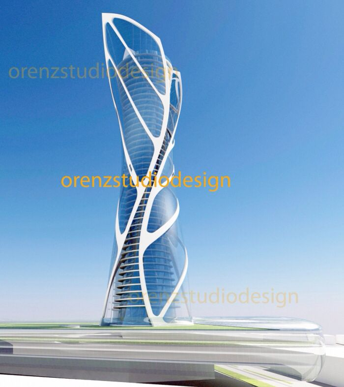 Design concept of an office tower. Ideas derived from leaf pattern structure.