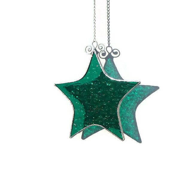 Teal Stained Glass Star Suncatcher