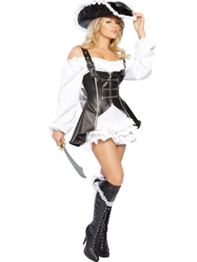 Black And White Acrylic PU Pirate Costume