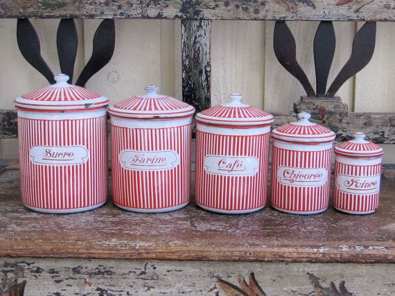 vintage striped canisters.