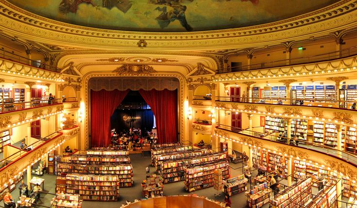 El Ateneo Grand Splendid, Buenos Aires, Argentina: What used to be a performing arts theater and a cinema back in 1919, is today one of the largest bookstores in South America.