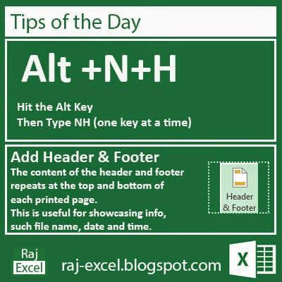 Add Header & Footer   Microsoft Excel 2013 Short Cut Keys:  Alt + NH  Hit the Alt key. Then type NH (one key at a time).   Add Header & F...