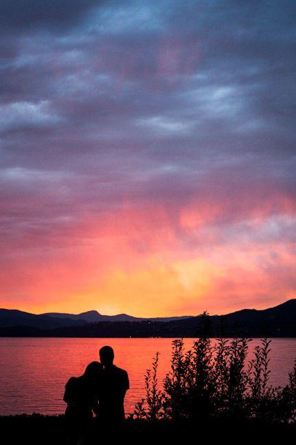 silhouette couple beach Vancouver sunset