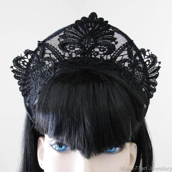 Pointed Black Lace Medieval Crown Fascinator Headpiece Tiara Headband One Size #Unbranded